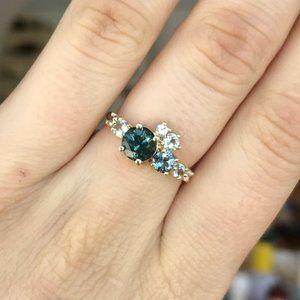 Mociun 14k Yellow Gold Luna Cluster Sapphire Ring